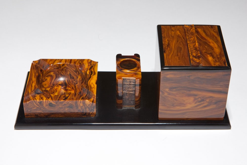 "Black + Caramel Catalin Bakelite Art Deco ""Smokers Set"""